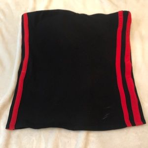 Express Tops - Express black tube-top with red stripe
